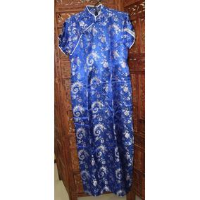 Vestido Chines Azul Com Prata Tam G Novo