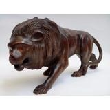 Leão - Escultura Em Madeira