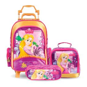 Kit Escolar Princesas Rapunzel Mochilete Lancheira Estojo