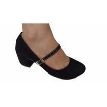 Sapato Feminino Sandalia Salto Medio Grosso Lançamento