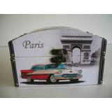 Porta Joias Maquiagem Vintage Com 2 Paris Maior Com 24 Cms.
