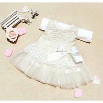 Vestido Renda Batizado Branco Bebê - 6/9/12/18 Meses