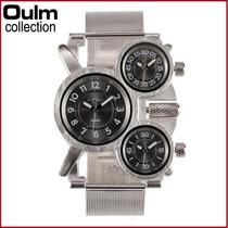 Reloj Oulm Ruso Militar Doble Reloj Agua 100 M Caja De Reloj