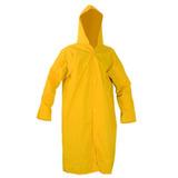 Capa De Chuva Amarela Com Capuz Pvc Forrado Resistente