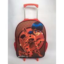 Mochila Escolar Ladybug Miracolous Rodinhas Tam G Promoção