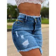 Saia Sol Jeans Curta Irregular Cós Desfiado Com Lycra Azul