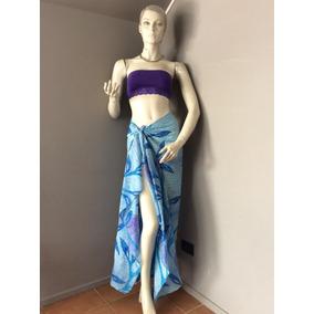 :::. Pareo Para Bikini Azul Con Flores, Rectangular. ::::