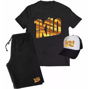 Kit Camiseta + Boné + Bermuda 1kilo Musica Rapper Banda Rap