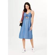 Vestido Jeans Midi Alças Finas E Amarração - Azul