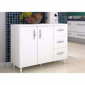 Armario Balcao Multiuso 2 Porta 3 Gaveta Agua Branco Cozinha