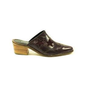 Zapato Lucerna Zueco Cuero Bordo
