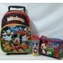 Bolso Maleta Escolar De Niño Mickey Disney Lonchera Y Vaso
