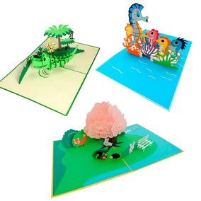 Paquete De Tarjetas De Felicitación, Infantiles,pop Up, 3d