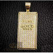 Pingente De Ouro 18k 750 Placa Barra De Ouro Com Diamantes