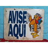 Antiguo Chapa Metal Litografiado 60x50cm Avisos Gallito Luis