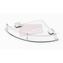 Esatto ® - Repisa Esquinera Vidrio Cristal Cromo Ac-031