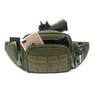 Cangurera Porta Arma Corta Verde Tactica Portacion Pistola