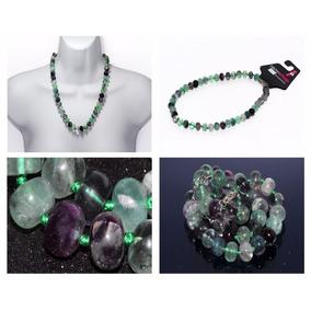 Collar De Piedra Amatista Morada Y Fluorita Verde Ccpn183