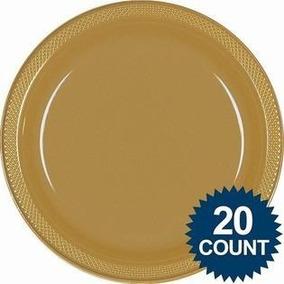 40 Platos Extragrandes 10in Oro Dorado Alimentos Desechables 948d77f18c7b