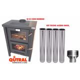 Qutral Estufa Calefactor A Leña 14000 C/horno + Kit Techo Ac