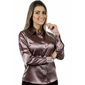 Camisa Feminina Naomi - Cetim C/ Elastano - Pimenta Rosada