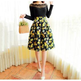 Falda Cintura Alta Flores Amarillas Vintage Entrega Inmediat