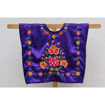 Tehuana: Blusa Con Flores Tejidas A Mano Sobre Satin Morado
