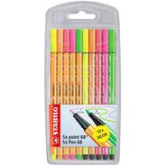 Marcador Stabilo Pen 68 Y Point 88 Neon Set 10 Colores Fluo