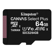 Memoria Micro Sd 64gb Kingston Select Plus + Adaptador