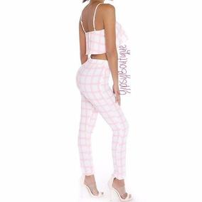 Conunto De Pantalos Y Crop Top A Cuadros Blanco Con Rosa