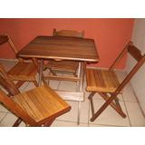 Mesa Dobrável Quadrada C/ 4 Cadeiras Madeira Maciça - Usada