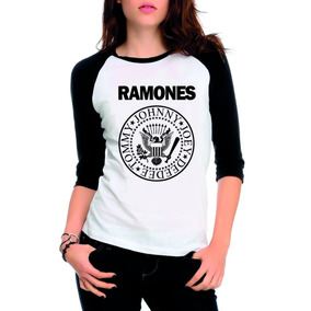 Camiseta Ramones Raglan 3/4 Feminina Rock, Banda
