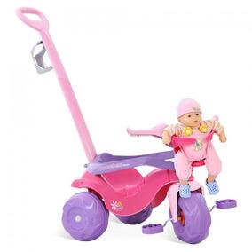 Triciclo Velotrol Motoban Rosa + Empurrador + Leva Boneca