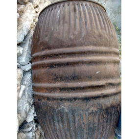 Barril Antiguo De Lámina Acanalado(una Sola Pieza /1950´s)