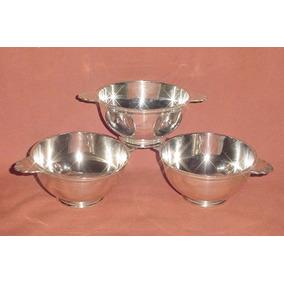 Antiguo Trio Bowls Cerealeros Consome Tazones Metal Blanco