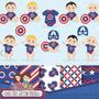 Kit Imprimible Pack Fondos Capitan America Bebe 1 Clipart