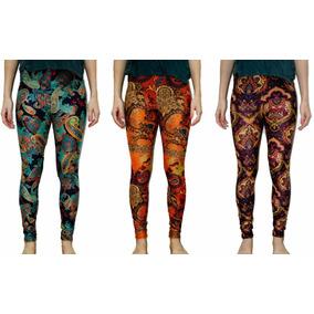 Calzas Leggins Estampadas Diseño Hindú Lycra Talle M/l Color