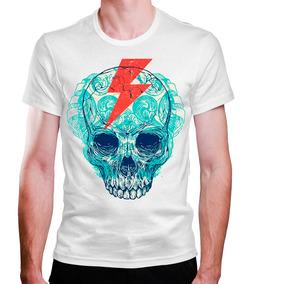 Camiseta Masculina Caveira Com Raio Na Cabeça 931754fc482