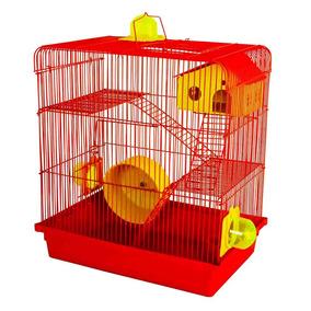 Gaiola Hamster 3 Andares Vermelha Russo Chines Sirio 12x