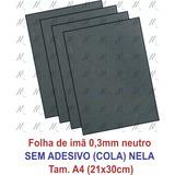 10 Folhas Manta Magnética Neutra 0,3mm, Faça Sua Lembrança
