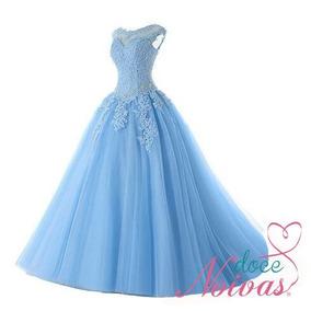 Vestido Debutante Azul Celeste Frozen Barato