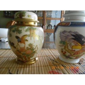 Jarrones Japoneses De Porcelana Con Relieve Pint A Mano