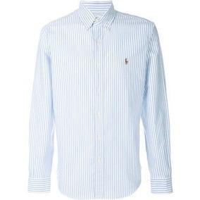 Camisa Masculina Social Polo Ralph Lauren Risca Giz L-43 Gg