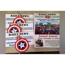 Invitacion Avengers Tipo Periodico Capitan America Iron Man