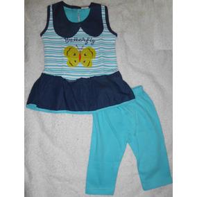Vestido Niña Pantalón Mariposa Azul Jeans Ropa Bebe Camisa