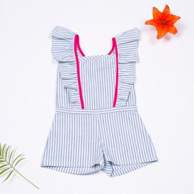 Jumpsuit A Rayas C/olanes Celeste P/ Niña - Ivi Clothing