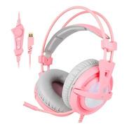 Audifonos Gamer Sades A6 - Sonido 7.1 (rosa)
