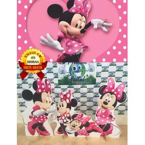 Kit Display Minnie Rosa 8 Peças + Painel 2x1.50m, Totens 48h