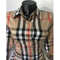 Camisa Burberry Xadrez Rosa Feminina.