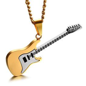 Colar / Cordão Guitarra De Aço Inox Dourado